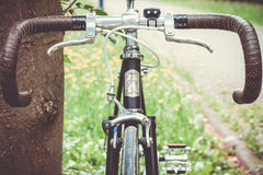 Shallow Focus Photo of Black and Brown Racing Bike Royalty Free Stock Photography