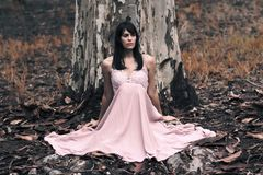Shallow Focus Photography of Black Haired Woman in Pink Sleeveless Dress Sitting in Front of Tree Stock Photo