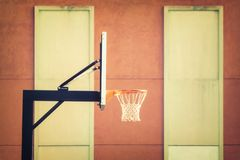 Shallow Focus Photography of Black Metal Outdoor Basketball Hoop royalty free stock photography