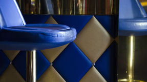 Shallow Focus Photography of Blue and Silver Bar Stool Royalty Free Stock Image