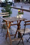 Shallow Focus Photography of Brown Wooden Folding Table With Chairs royalty free stock photos