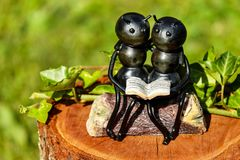 Shallow Focus Photography of Couple Ants Holding Book Figurine Royalty Free Stock Photo