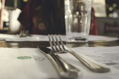 Shallow Focus Photography of Fork and Knife royalty free stock photo