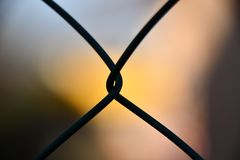 Shallow Focus Photography of Silhouette of Cyclone Wire Stock Photo