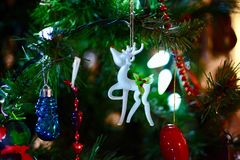 Shallow Focus Photography of White Deer Christmas Tree Ornament royalty free stock photos