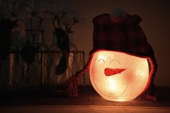 Shallow Focus Photography of White Led Snowman Lamp Royalty Free Stock Image