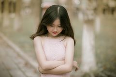 Shallow Focus Photography of Woman in Pink Dress royalty free stock images