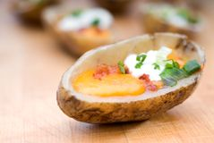 Shallow focus potato skins Stock Photography
