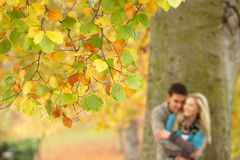 Shallow Focus View Of Romantic Teenage Couple. By Tree In Autumn Park stock images