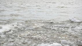 Shallow ice floats along the river, spring stock footage