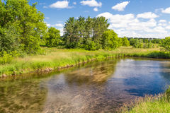 Shallow Kinnickinnic River in Wisconsin. Shallow flowing Kinnickinnic River in rural western Wisconsin, USA royalty free stock photo