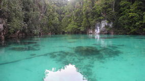 Shallow Lagoon and Limestone Island in Raja Ampat stock video