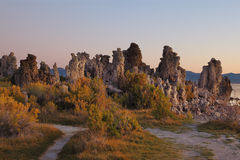 Shallow lake, picturesque reefs Tufa Stock Photography