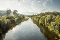 Shallow Raba river during drought, Poland. Shallow Raba river during drought in Poland Stock Photo