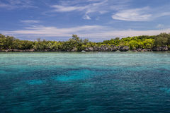 Shallow Reef and Islands. A coral reef grows in the shallows along the barrier reef in Palau, Micronesia. Coral reefs depend on clear, warm water and plenty of Stock Photo