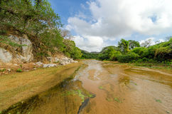 Shallow River Bed. Shallow almost dry river bed in Macuira National Park in La Guajira, Colombia Stock Photos