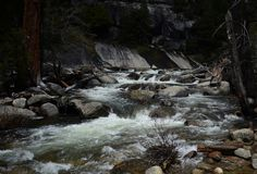 Shallow river with rocks and small rapids stock photography