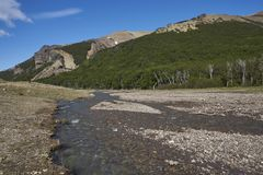 Cerro Castillo National Reserve in northern Patagonia, Chile. Shallow river running alongside the Carretera Austral as it passes through Cerro Castillo National stock photo