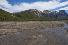 Cerro Castillo National Reserve in northern Patagonia, Chile. Shallow river running alongside the Carretera Austral as it passes through Cerro Castillo National stock images