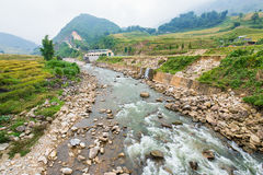 Shallow rock river in Sa Pa, Vietnam surrounded by rice terraces Royalty Free Stock Images