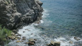 Shallow Rocky Sea Coast Cinque Terre stock video footage