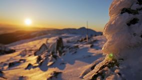 Shallow Sunset Winter Mountains View stock footage