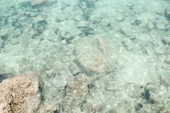 Shallow. Top view od transparent shallow ocean sea water surface in summer Stock Photography