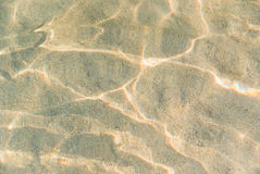 Shallow water ripple on beach bottom golden sand texture Stock Photos