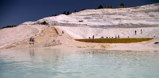 Shallow water & salt mountain on the background Royalty Free Stock Image
