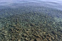 Shallow Water Stones. Stones in the clear water's edge Stock Photo