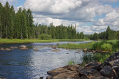Shallows on Suna river in Karelia, Russia. View of shallows on Suna river in Karelia, Russia Stock Photos