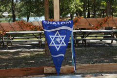 Shalom Flag. Hanging in Sukkah Stock Images