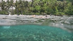 Shalow Water Reef Snorkeling Indonesia Girl Asia Underwater Slowmotion stock video footage