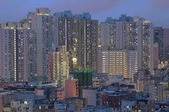 Sham Shui Po district in Hong Kong at night Royalty Free Stock Photo