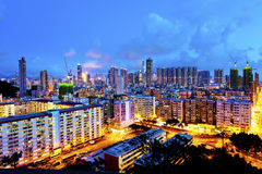 Sham Shui Po district in Hong Kong at night Stock Photos