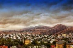 Shamakhi市顶视图  背景自然阿塞拜疆 免版税库存图片