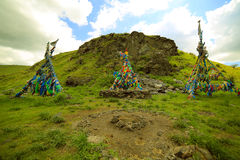 Shaman Adak Tree, prayer's flag Stock Photo