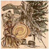 Shaman, bear and eagle. An hand drawn vector picture. Line art i Stock Images