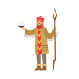 Shaman character in national clothes performing ritual offerings to the gods vector Illustration Stock Images