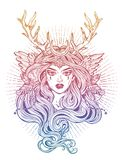 Shaman elf magic woman with deer antlerss and long hair. vector illustration