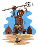 Shaman. Illustration of dancing shaman. Behind him there is a village. Artwork  on white background. Available in vector EPS format Stock Images