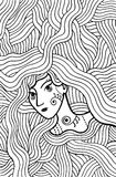 Shaman mystic girl with wavy hair. Doodle coloring page for adul. Ts. Vector illustration royalty free illustration