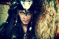 Shaman photo. Portrait of a shaman with a drum outdoor Royalty Free Stock Images
