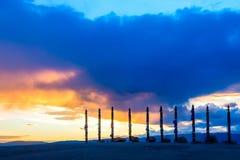 Shaman pillars Sergej on Cape Burkhan, Olkhon island, Lake Baika Royalty Free Stock Image