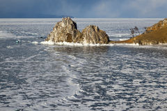 Shaman rock and cape Burhan on Olkhon Island, Russia Royalty Free Stock Photos