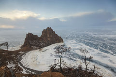Shaman rock and cape Burhan on Olkhon Island, Russia royalty free stock photo