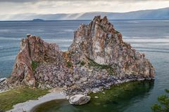 Shaman Rock, Lake Baikal in Russia. Shaman Rock - holy place for Buryats in Siberia, Lake Baikal, Russia Royalty Free Stock Image