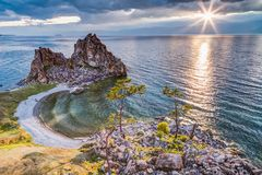 Shaman Rock, Lake Baikal in Russia. Shaman Rock - holy place for Buryats in Siberia, Lake Baikal, Russia Royalty Free Stock Photography