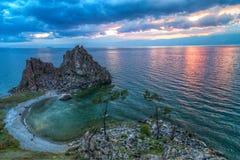 Shaman Rock, Lake Baikal in Russia. Shaman Rock - holy place for Buryats in Siberia, Lake Baikal, Russia Stock Photo