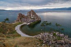 Shaman Rock, Lake Baikal in Russia. Shaman Rock - holy place for Buryats in Siberia, Lake Baikal, Russia Stock Image